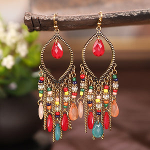 Classic Vintage Women's Corful Crystal Beads Long Tassel Earrings 2020 Fashion Jewelry Bohemia Wedding Earrings Hangers - A Woman Knows Best