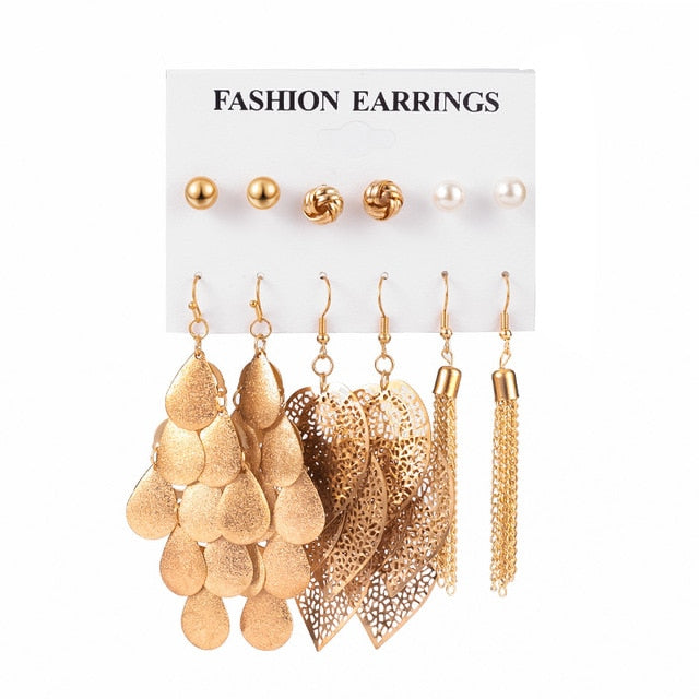 12 Pairs/Set Women's Earrings Set Stud Earrings For Women Bohemian Fashion Jewelry Vintage Geometric Crystal Pearl Earrings 2020 - A Woman Knows Best