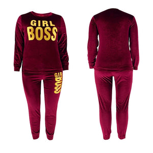 Autumn New Velvet Two Piece Sets Women Full Sleeve Tops And Skinny Pants Matching Sets Fashion Letter Print Tracksuit Women Sets - A Woman Knows Best