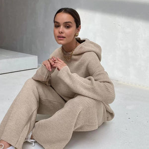 Autumn Knitted Sweat Suits Women Matching Sets Long Sleeve Hoodie+wide-legged Pants Loungewear Sweater Set Two Piece Outfits - A Woman Knows Best