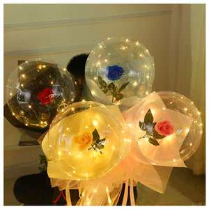 LED Luminous Balloon Rose Bouquet Transparent Bobo Ball Rose Valentines Day Gift Birthday Party Wedding Decoration Balloons #6