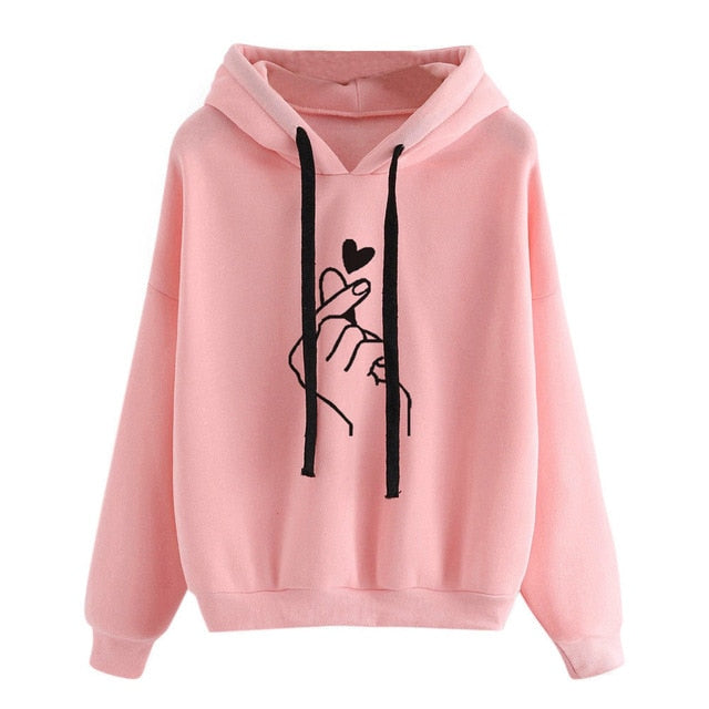 Women Sweatshirt And Hoody Ladies Hooded Love Printed Casual Pullovers Girls Long Sleeve Spring Autumn Winter Striped Plus Size - A Woman Knows Best