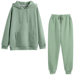 Hoodie 2 Pieces Set Women Autumn Solid Oversized Sweatshirt Set Casual Long Sleeve Fleece Tops Long Pants Tracksuit Suit Outfits - A Woman Knows Best