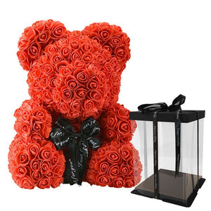 40cm Bear Of Roses with Box Artificial Flowers Teddy Rose Bears Wedding New Year Christmas Valentine Gift Dropshipping - A Woman Knows Best