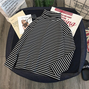 T-shirts Women Long Sleeve Loose Striped Solid Turtleneck Womens T-shirt All-match Simple Leisure Korean Style Trendy Chic Soft - A Woman Knows Best