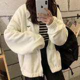 Hoodies Women Zip-up Turn-down Collar Printed Pocket Long Sleeve Korean Style New Trendy Casual BF Ulzzang Harajuku Womens Daily - A Woman Knows Best