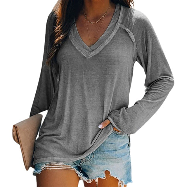 Solid Color Comfortable Casual Round Neck Long Sleeve Women Knitted T-shirt Bottoming Top - A Woman Knows Best