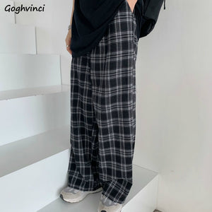 Plaid Pants Women Casual Chic Oversize 3XL Loose Wide Leg Trousers Ins Retro Teens Harajuku Hip-hop All-match Unisex Streetwear - A Woman Knows Best