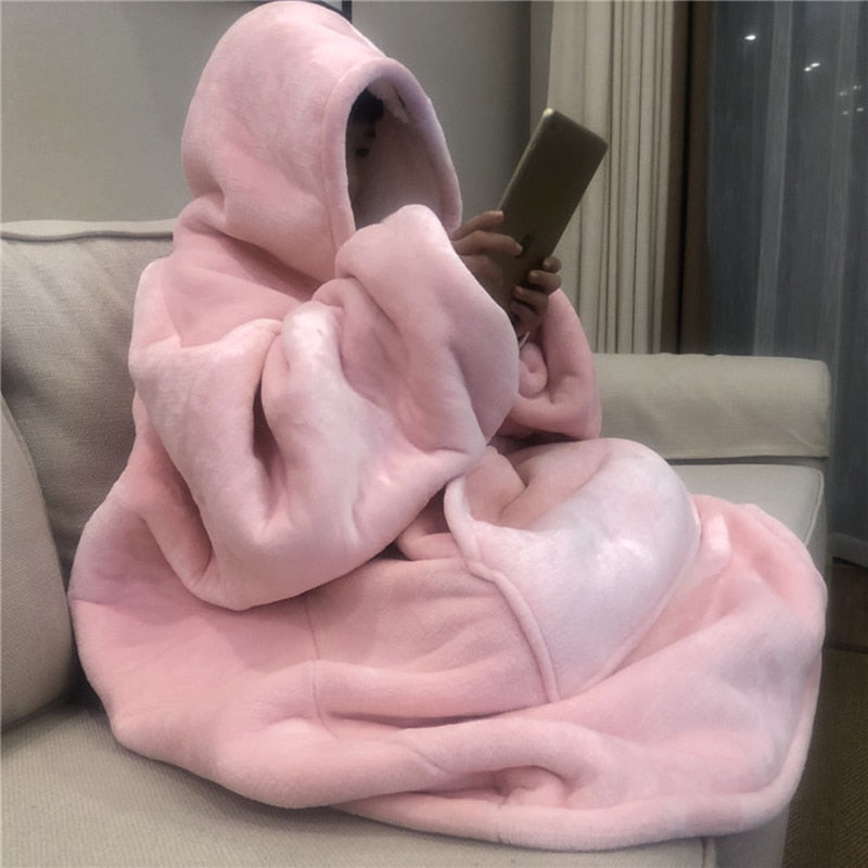 Winter Warm TV Sofa Blanket with Sleeves Fleece Pocket Hooded Weighted Blanket Adults Kids Oversized Sweatshirt Blanket for Bed - A Woman Knows Best