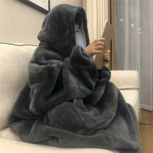 Winter Warm TV Hooded Blankets Sofa Cozy Coral Fleece Hoodie Blanket Adults Kids Bathrobe Weighted Blanket with Sleeves Outwears - A Woman Knows Best