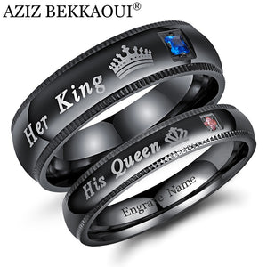 AZIZ BEKKAOUI DIY Couple Rings Black Her King and His Queen Stainless Steel Wedding Rings for Women Men Jewelry Dropshipping - A Woman Knows Best