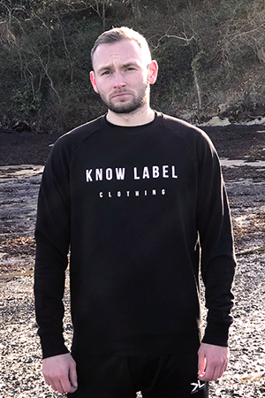 Men's Black Chest Print Eco Sweatshirt