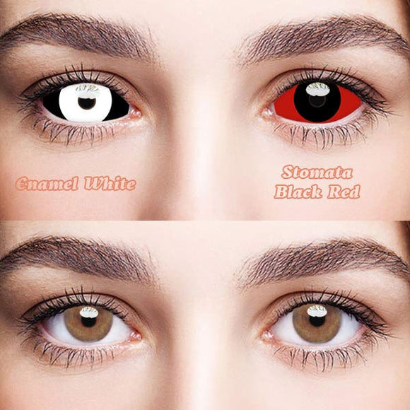 SPSeye Sclera Enamel White & Stomata Black Red Colored Contact Lenses