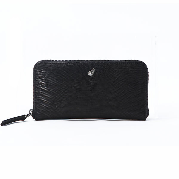 Maiden Lizard Full Zip Around Leather Purse Black