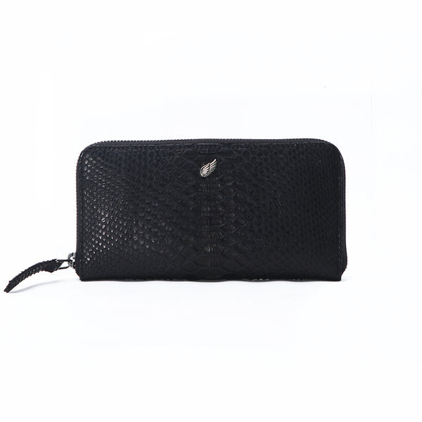 Maiden Full Zip Around Leather Purse Black