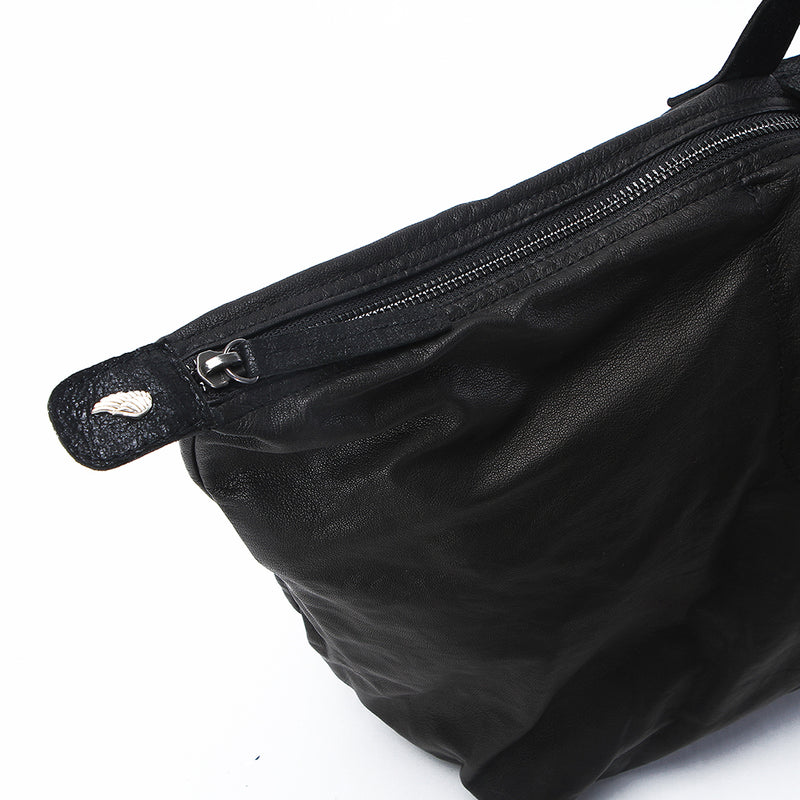 Morrison Soft Leather Foldaway Holdall Black