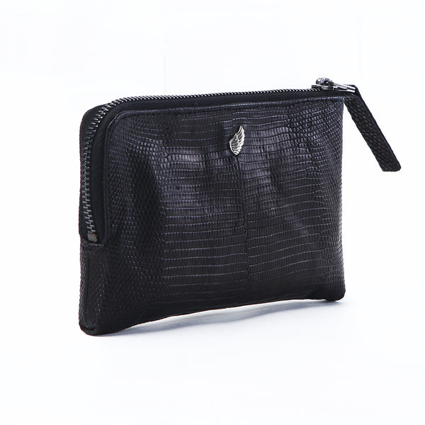Presley Half Zip Leather Purse Black