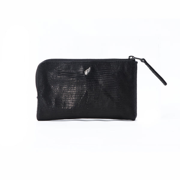 Presley Lizard Half Zip Leather Purse Pouch Black