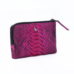 Presley Half Zip Leather Purse Pouch Fuchsia
