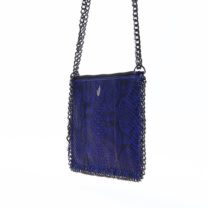 Stones Double Chain Purse Bag Blue