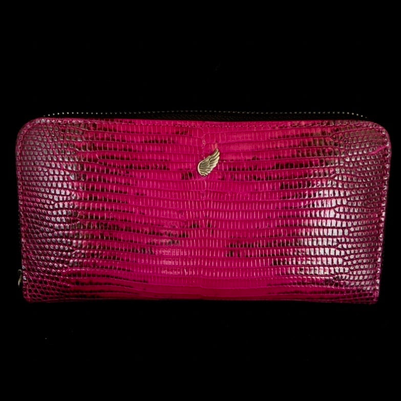 Maiden Full Zip Around Leather Purse Fuchsia