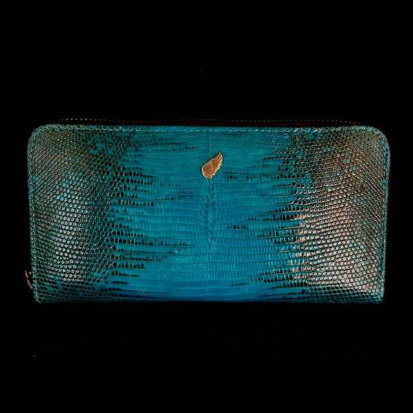 Maiden Full Zip Around Leather Purse Teal