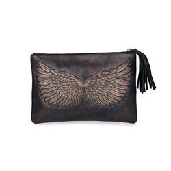 Marley Carved Angel Wing Leather Pouch Distressed Black
