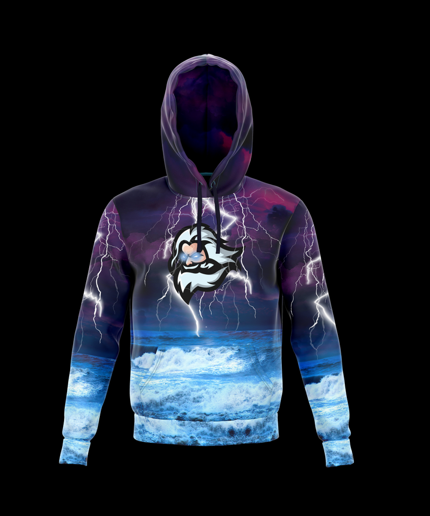 Electricity Wave Zeus Lightning Pull Over Hoodie