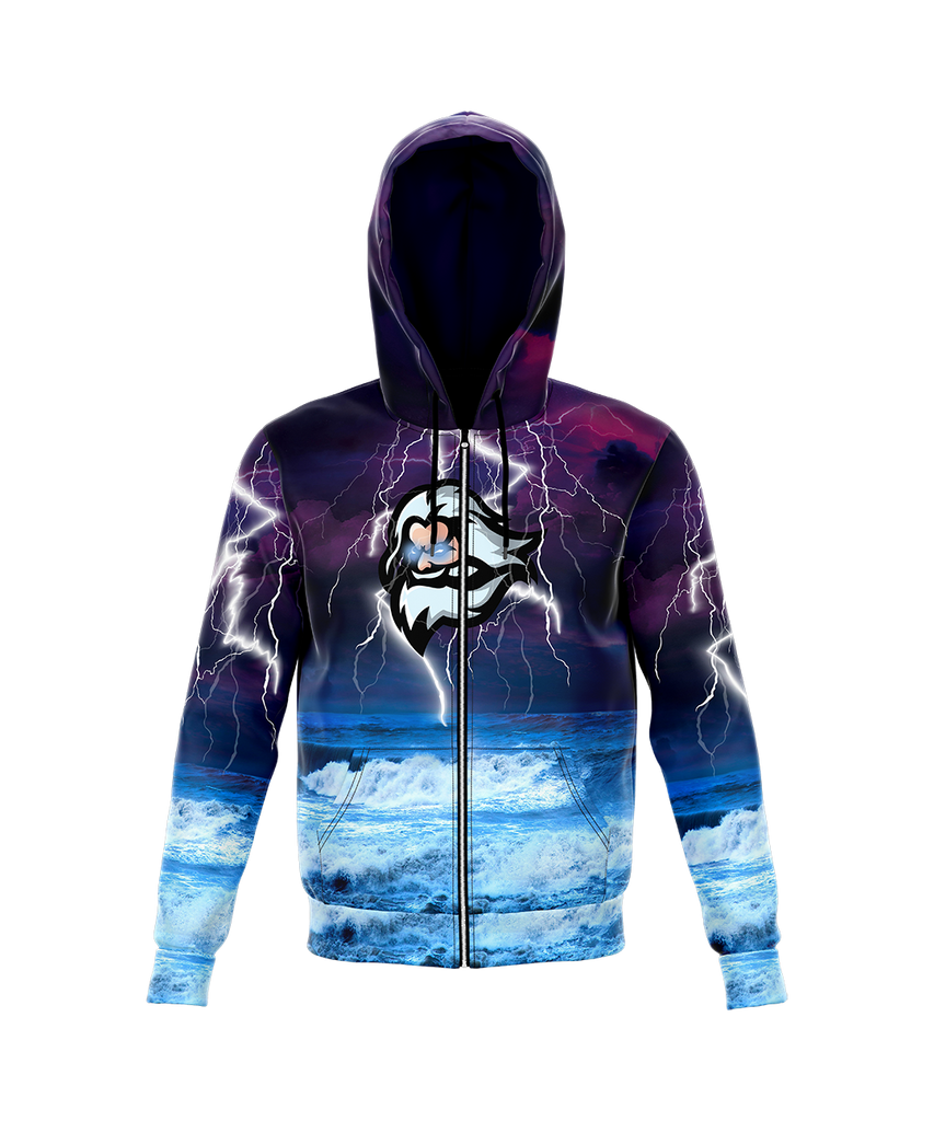 Electricity Wave Zeus Lightning Zip Up Hoodie