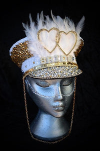 White Gold Hen Party Hat - JewelBritanniaHats