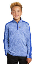 Load image into Gallery viewer, Youth PosiCharge ® Electric Heather Colorblock 1/4-Zip Pullover