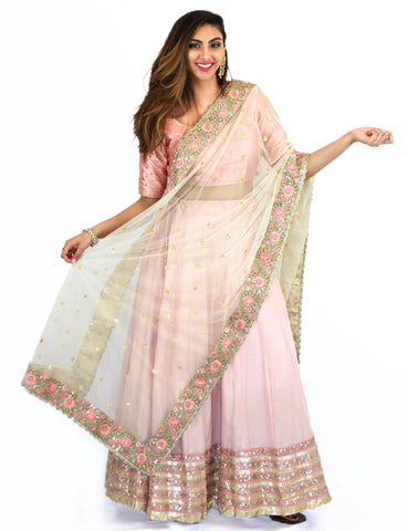 Rent Rose Pink Lehenga & Blouse With Embroidered Dupatta