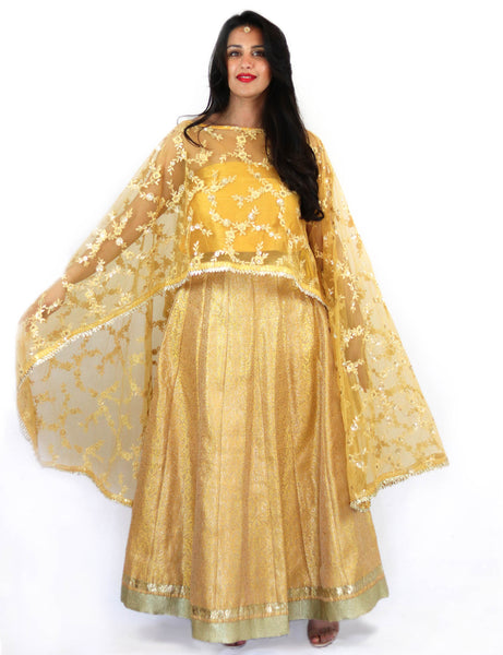 Rent Yellow Embroidered Cape With Bustier & Brocade Lehenga