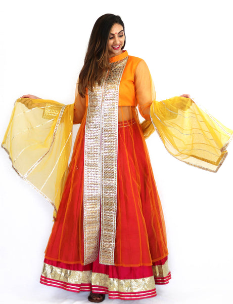 Rent Orange Jacket with Pink Lehenga & Yellow Dupatta