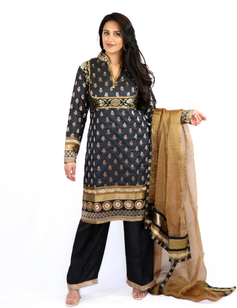 Rent Black Brocade Kurta With Pants & Golden Dupatta