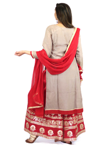 Rent gray embroidered kurta with red sharara and dupatta