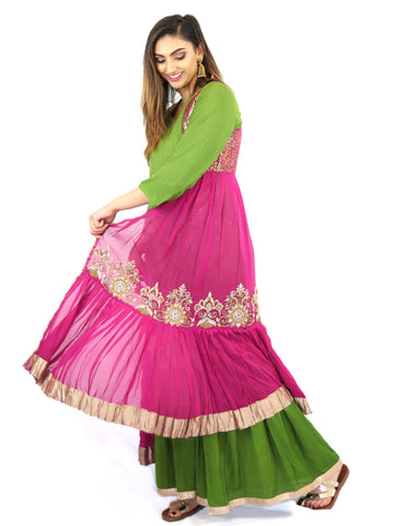 Rent Green Kurta & Sharara With Pink Embroidered Jacket