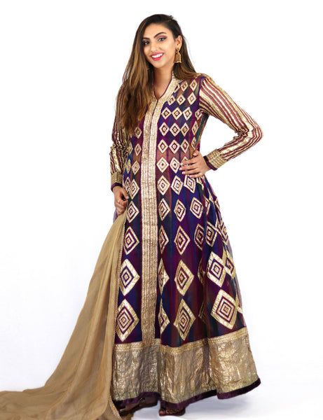 Rent Purple Full Length Gown With Golden Dupatta