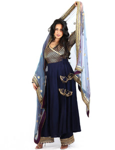 Rent Blue Brocade Anarkali With Pants & Dupatta