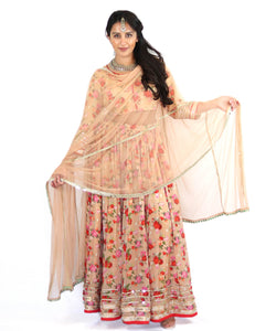 Rent Biege Floral Lehenga With Blouse & Dupatta