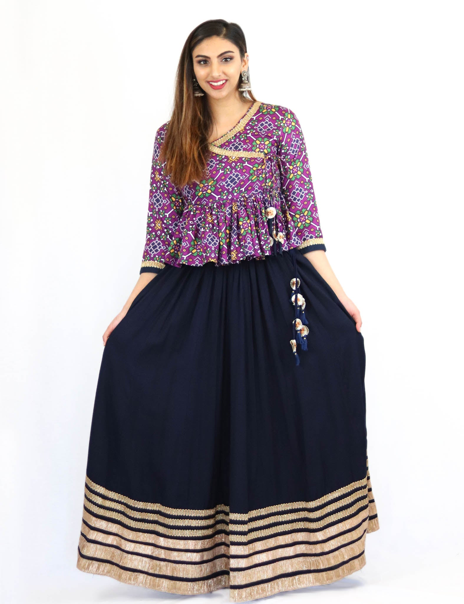 Rent Blue Lehenga With Purple Printed Kediyu Top