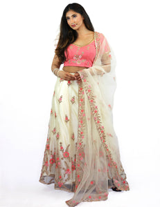 Rent Peach Blouse With Off White Lehenga & Dupatta