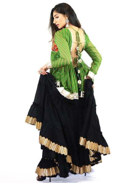 Rent Green Mirrored Kediyu Top With Black Lehenga