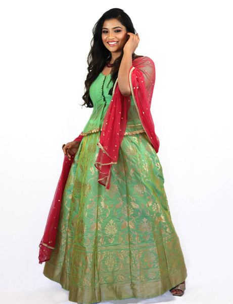 Rent Pastel Green Brocade Lehenga & Blouse With Magenta Dupatta