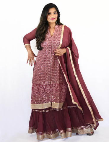 Rent Magenta Embroidered Kurta With Sharara & Dupatta