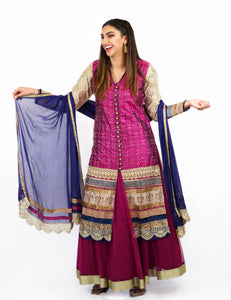 Rent Pink Sherwani & Lehenga With Blue Dupatta