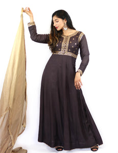 Rent Purple Embroidered Anarkali With Golden Dupatta