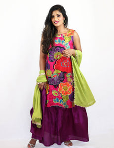 Rent Purple Floral Full Length Dress With Green Dupatta