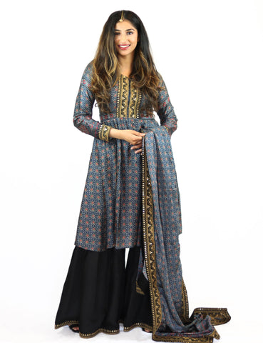 Rent Black Sharara with printed Blue Peplum Top & Dupatta