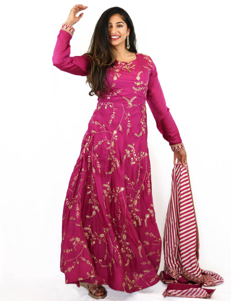 Rent Pink Full Length Anarkali With Striped Dupatta